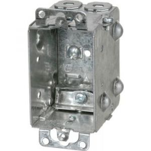 """2-1/2"""" DEEP DEVICE BOX w/PLASTER EARS Clamps for armoured cables."""