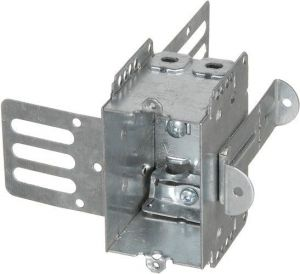 """2 1/2"""" DEEP GANGABLE STEEL STUD """"BUBBLE"""" BOX WITH KNOCKOUTS armoured cables"""