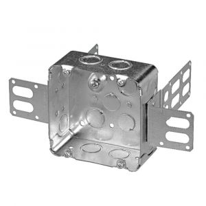 """4 11/16"""" SQUARE STEEL STUD JUNCTION BOX WITH KNOCKOUTS STEEL STUD armoured cables"""
